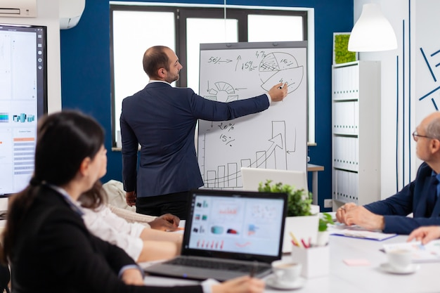 그래프를 설명하는 플립 차트 프레젠테이션을 제공하는 전문 비즈니스 코치 회사 리더 교사. 진지한 연사 보스 경영자, 동기 부여 미에 개발 전략을 설명하는 비즈니스 트레이너