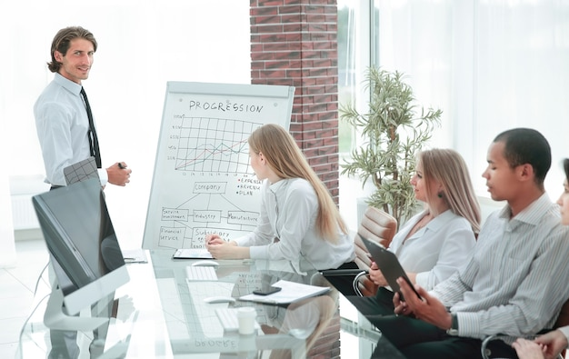Professional business team discussing a financial chart.