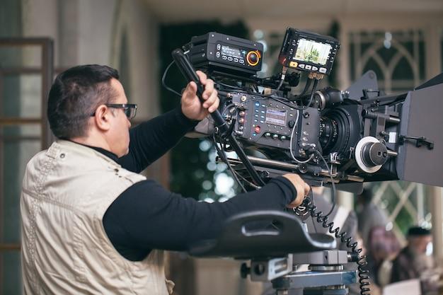 Professional camera man at work