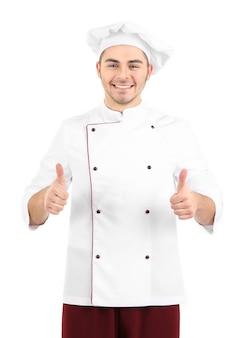 Профессиональный повар в белой форме и шляпе, изолированные на белом