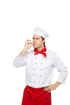 Профессиональный шеф-повар на белом.