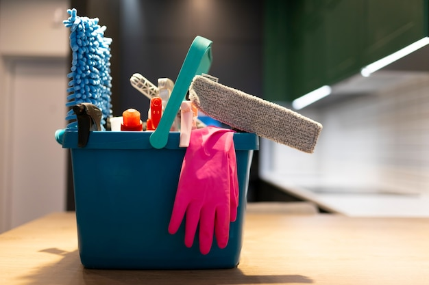 Professional cleaning bucket with accessories.