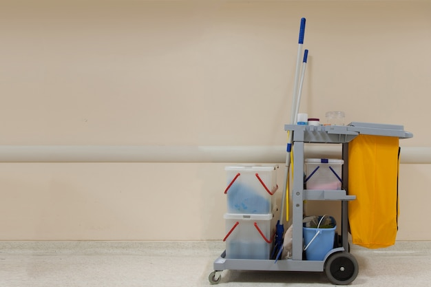 Professional cleaning cart in the hospital