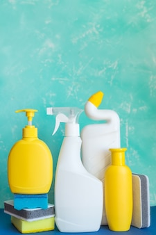 Professional cleaning equipment on blue