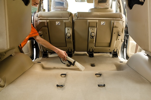 Professional  cleaning of interior back seats carpet