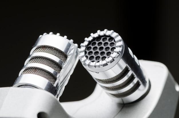 Professional condenser studio microphone close up