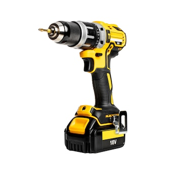 Professional cordless hammer drill on white space