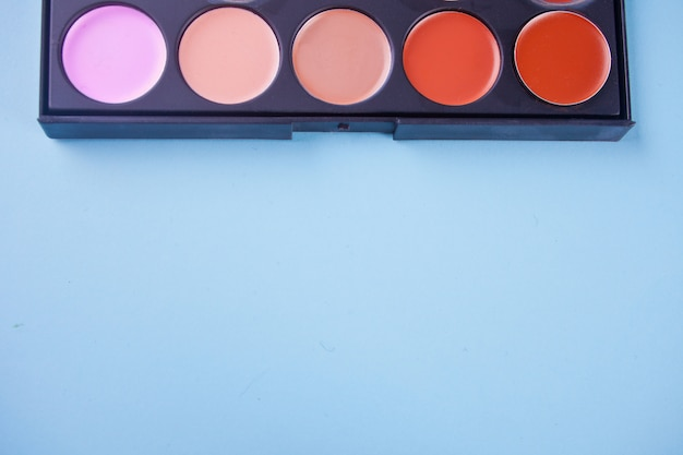 Professional cosmetic. cream concealer in a palette. copy space.