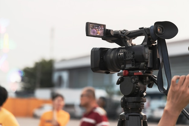 Professional digital video camera equipment on event broadcasting.