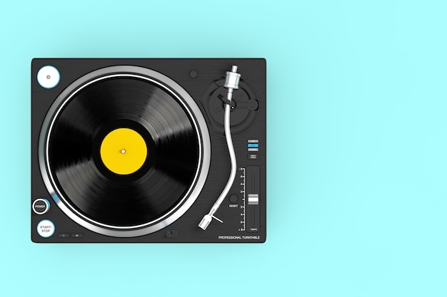 Professional dj turntable vinyl record player on a blue background. 3d rendering