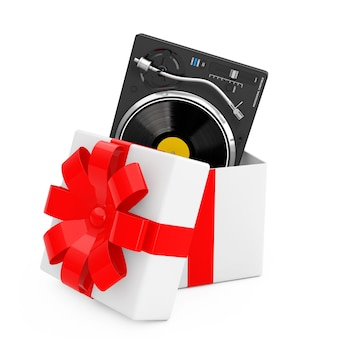 Professional dj turntable vinyl record player come out of the gift box with red ribbon on a white background. 3d rendering