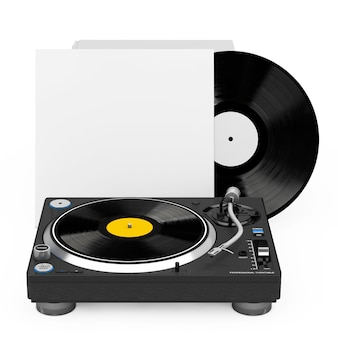 Professional dj turntable vinyl record player near stack of vinyl disks in blank paper cases on a white background. 3d rendering