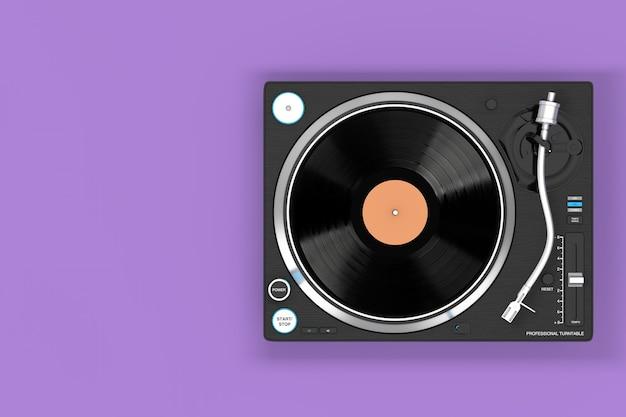 紫色の背景にプロのdjターンテーブルビニールレコードプレーヤー。 3dレンダリング