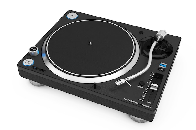 Professional dj turntable vinyl record player on a white background. 3d rendering