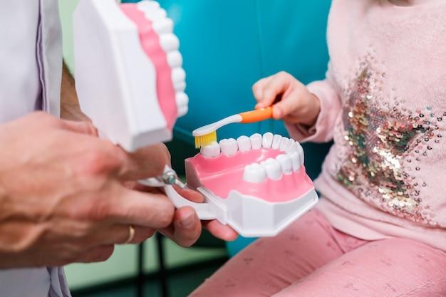 전문 의사인 소아과 치과의사는 아이에게 이를 닦는 법을 가르칩니다. 환자 검사를 위한 치과 사무실입니다. 어린이의 치과 치료 과정.