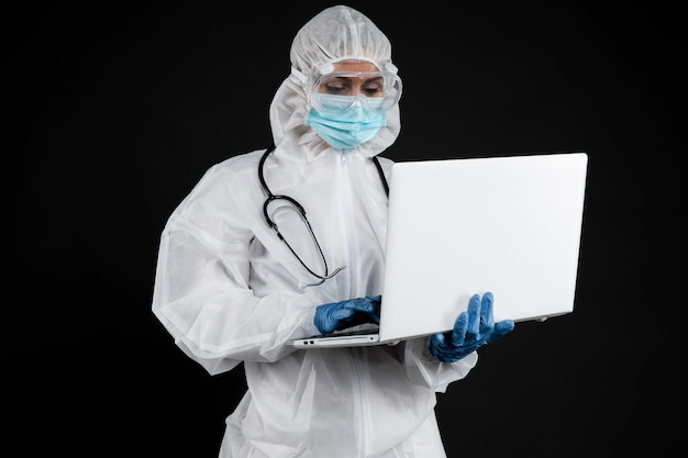 Professional doctor wearing pandemic medical equipment