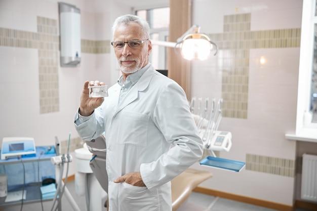 그의 클리닉에 서있는 동안 미소하고 인간 치아의 석고 복제본을 들고 전문 노인 치열 교정