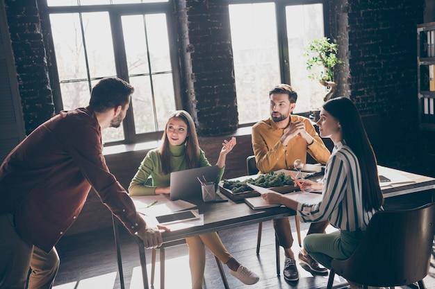 Professional entrepreneur briefing  men women meet together office workplace sit desk