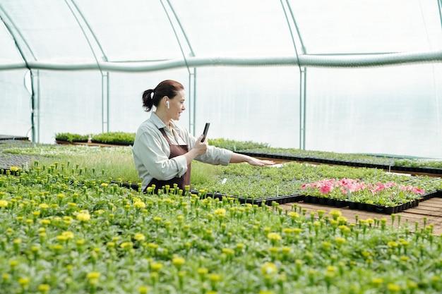 스마트폰으로 꽃 재배에 대한 온라인 과정을 제공하는 전문 농부