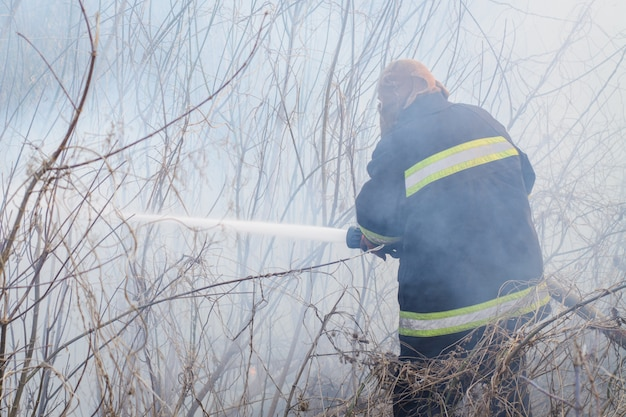Professional firefighter stands in smoke, sprays water to the wildfire in the countryside