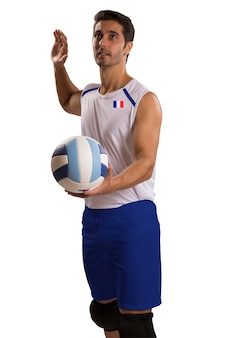 Professional french volleyball player with ball. isolated on white space.