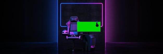Игровое кресло для профессиональных геймеров концепция киберспортивной арены 3d-рендеринга