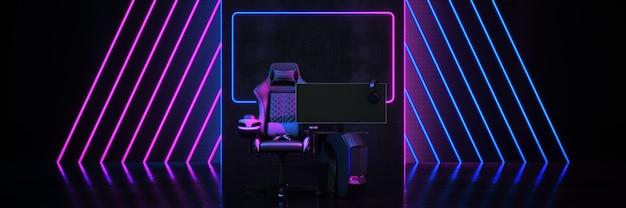 プロゲーマーゲームチェアコンセプトサイバースポーツアリーナ3dレンダリング