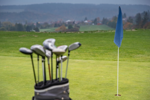Professional golf clubs in bag on green