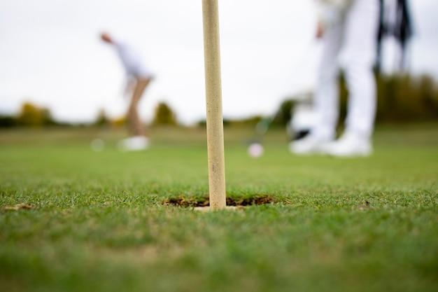 Профессиональные гольфисты играют в гольф на поле.