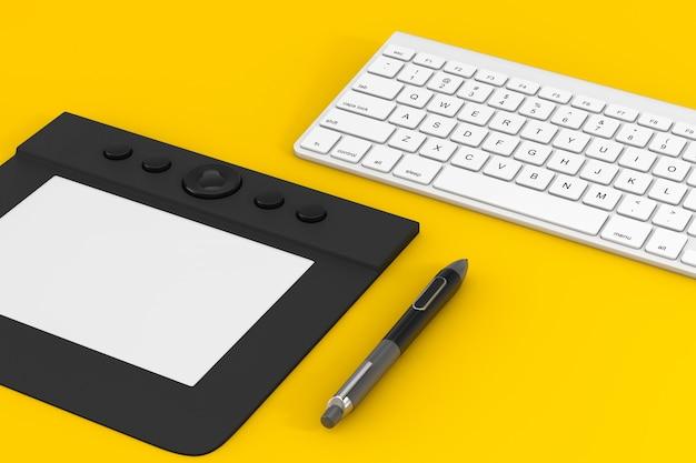 노란색 배경에 컴퓨터 키보드 근처에 디지털화된 펜이 있는 전문 그래픽 태블릿. 3d 렌더링