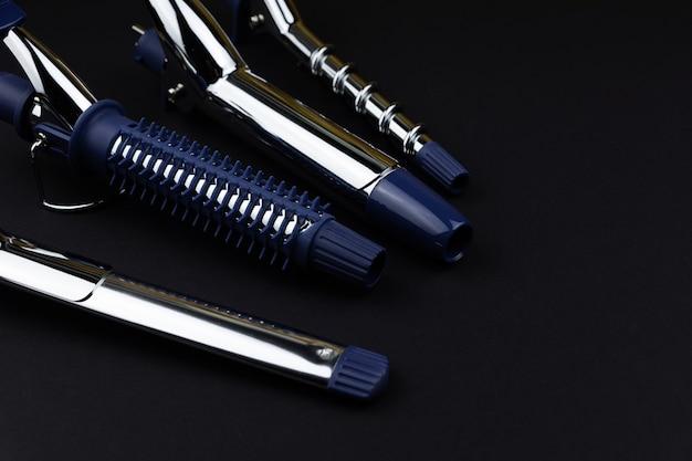 Профессиональный инструмент для завивки и укладки волос, сменные насадки для завивки на черном фоне