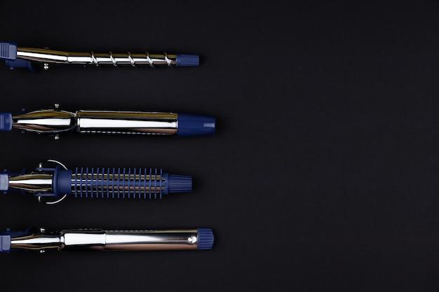 전문 헤어 컬링 및 스타일링 도구, 검정색 책상에 교체 가능한 컬링 팁