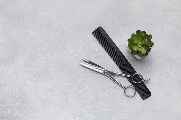 Professional hair scissors copy space
