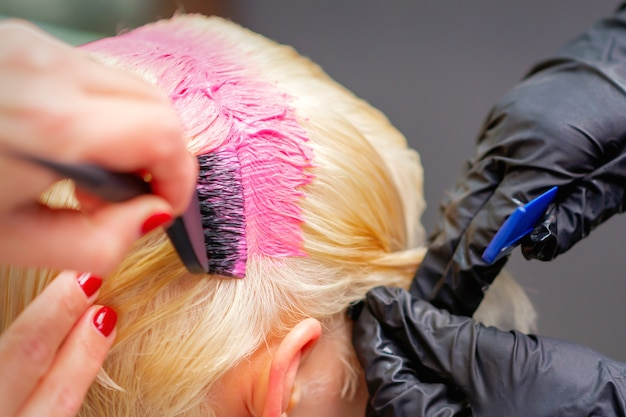 Professional hairdresser dyes hair of young woman in pink color