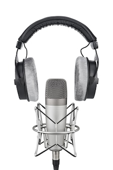 Professional headphones and condenser microphone isolated