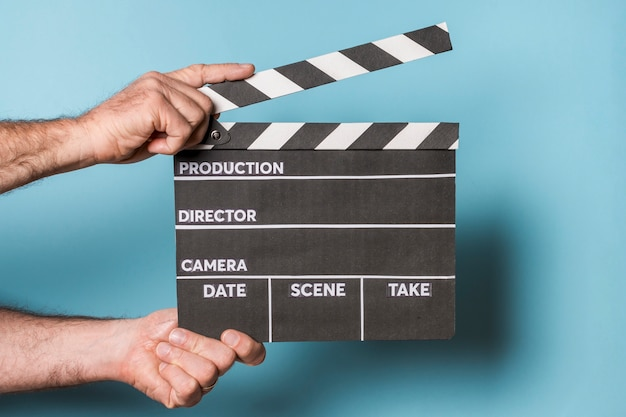 Professional hollywood film clapperboard; being used on location