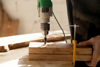 Professional instruments for woodworking concept
