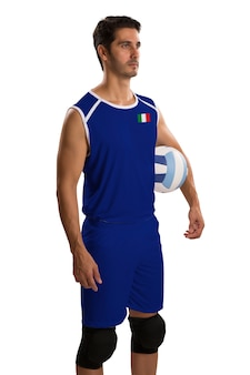 Professional italian volleyball player with ball. isolated on white space.