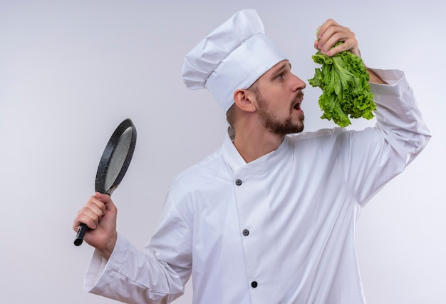 白い制服を着たプロの男性シェフが調理し、フライパンと白い背景の上に立ってそれを嗅ぐしようとしている新鮮なレタスを保持している帽子を調理します。