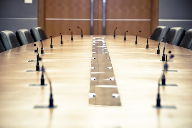 Professional meeting microphone on the table.