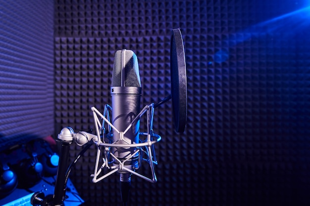 Professional microphone close-up on the background of recording studio