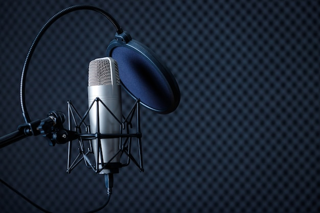 Professional microphone in recording studio with  blank copy space background