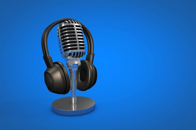 Professional microphone with color background podcast or recording studio background illustration