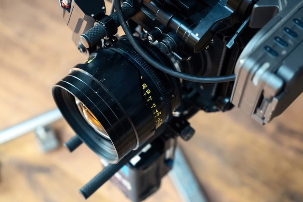 Professional movie camera lens on a movie set