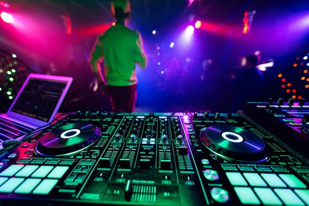 Professional music controller dj board for mixing electronic music at night club party