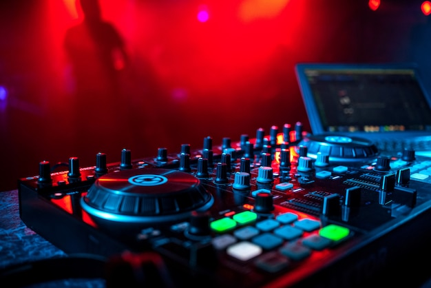 Professional music equipment dj in a booth in a nightclub