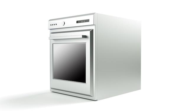 白い背景の3dレンダリングのプロのオーブン