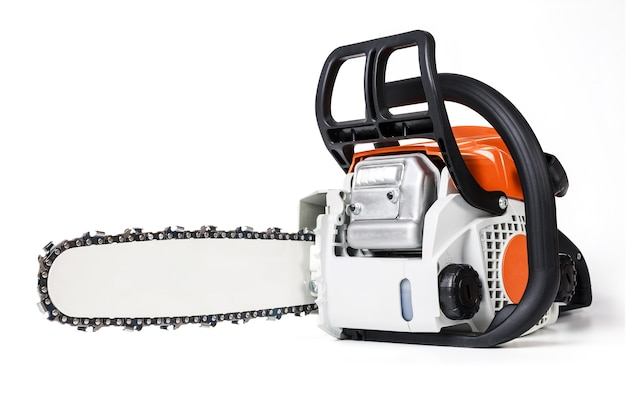 Professional petrol chainsaw isolated on a white.