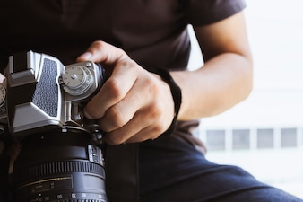Professional photographer concentrate