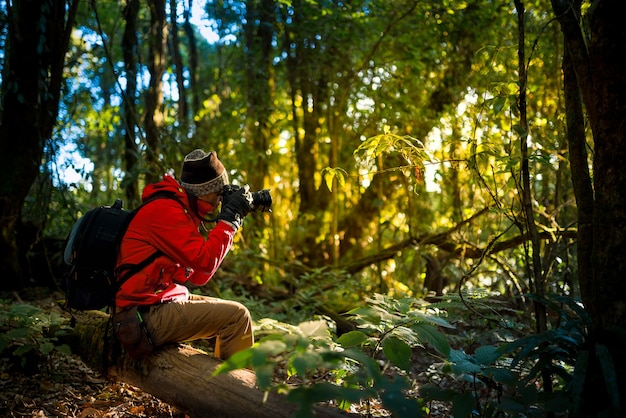 Professional photographer takes photos with camera in the forest. travel , asia , mountain